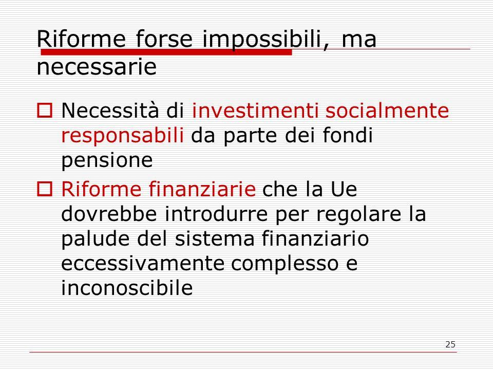25 Riforme forse impossibili, ma necessarie Necessità di investimenti socialmente responsabili da parte dei fondi pensione Riforme finanziarie che la Ue dovrebbe introdurre per regolare la palude del sistema finanziario eccessivamente complesso e inconoscibile