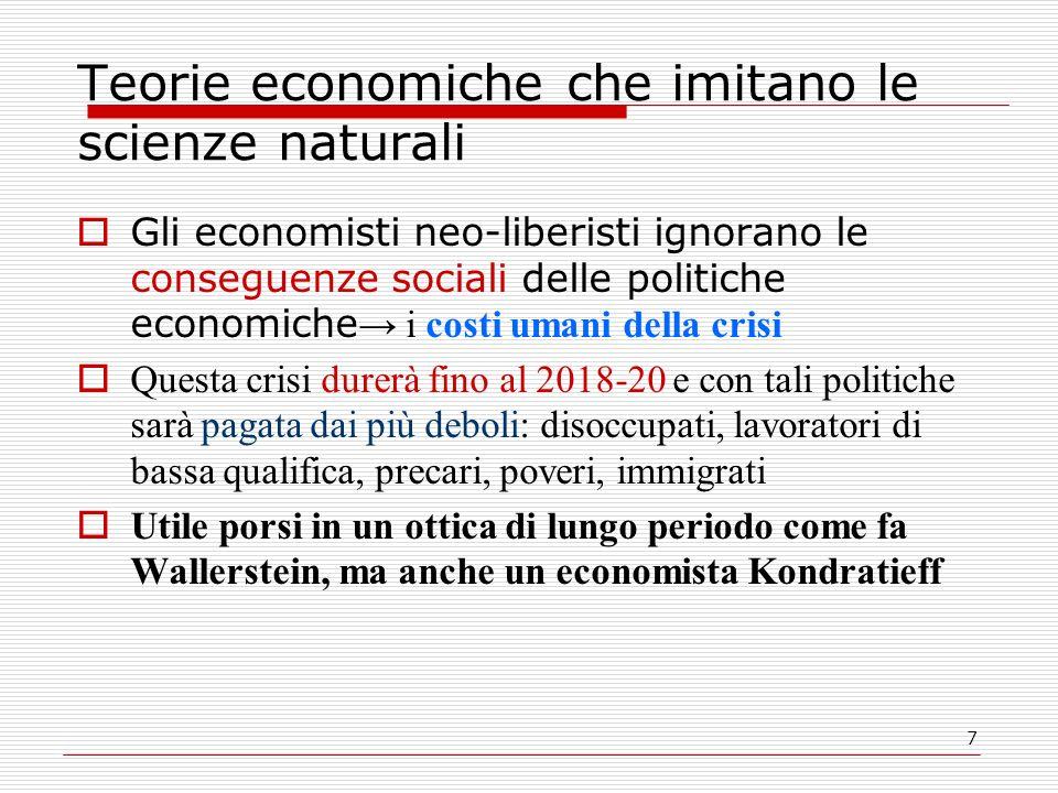 7 Teorie economiche che imitano le scienze naturali Gli economisti neo-liberisti ignorano le conseguenze sociali delle politiche economiche i costi um