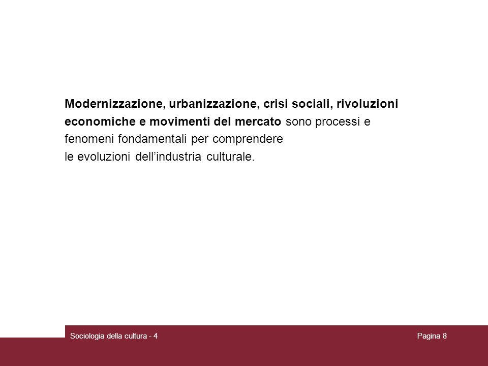 Sociologia della cultura - 4Pagina 8 Modernizzazione, urbanizzazione, crisi sociali, rivoluzioni economiche e movimenti del mercato sono processi e fe