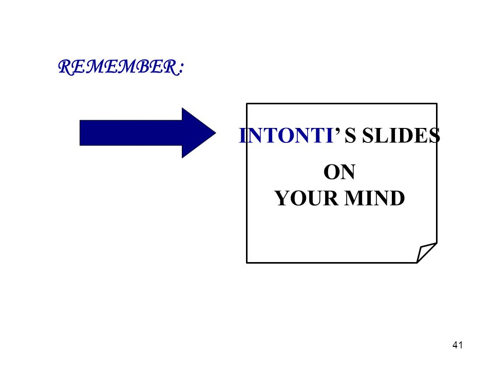REMEMBER : INTONTI S SLIDES ON YOUR MIND 41