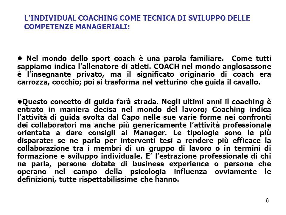 Il processo di crescita è realizzato in prima persona dallinteressato e guidato dal coach.
