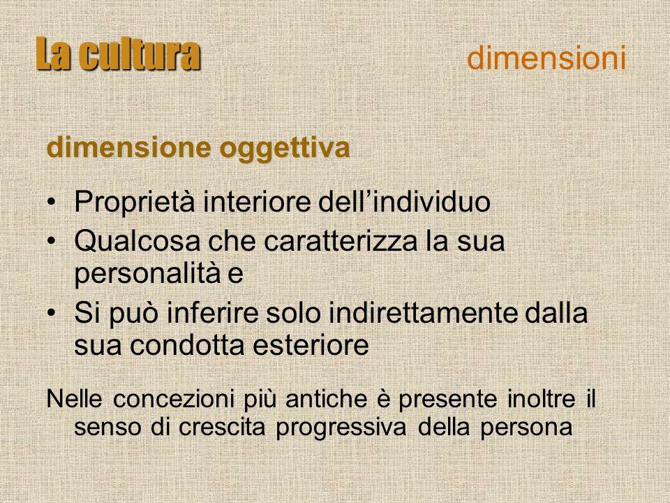 La cultura La cultura dimensioni dimensione oggettiva Proprietà interiore dellindividuo Qualcosa che caratterizza la sua personalità e Si può inferire