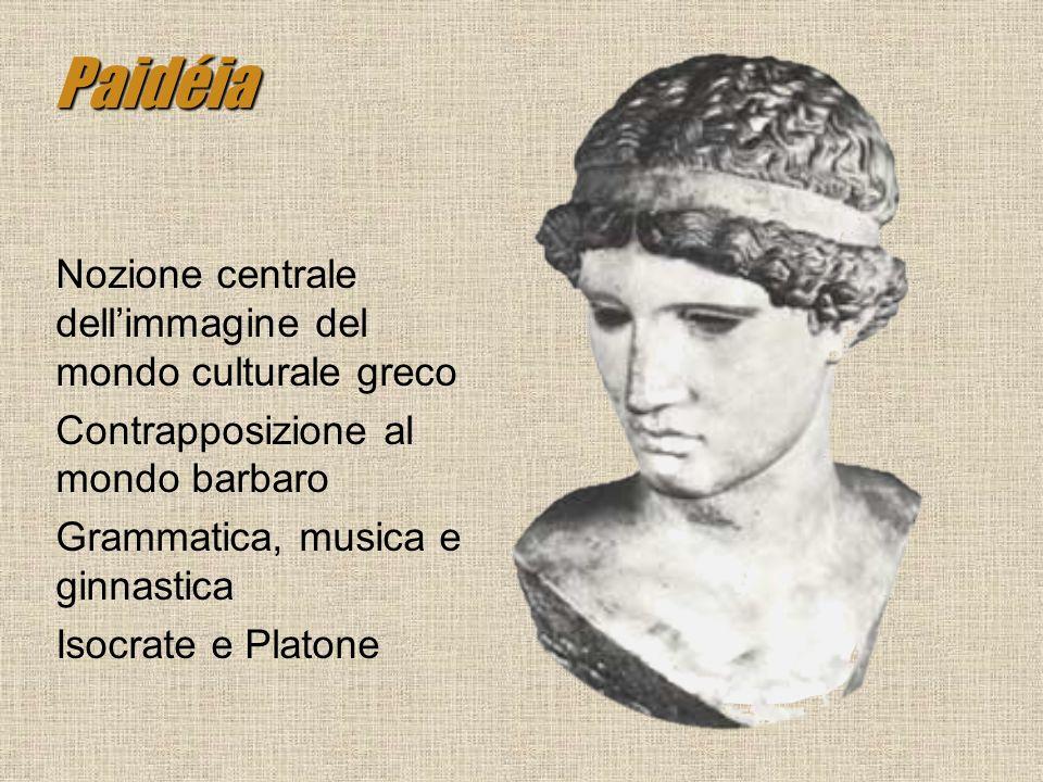 Paidéia Nozione centrale dellimmagine del mondo culturale greco Contrapposizione al mondo barbaro Grammatica, musica e ginnastica Isocrate e Platone