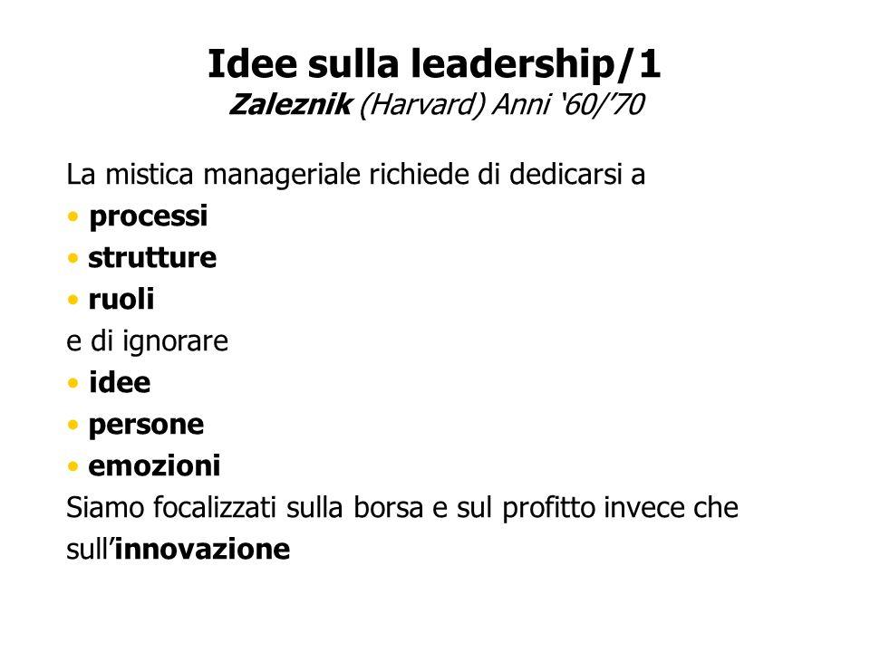 Idee sulla leadership/1 Zaleznik (Harvard) Anni 60/70 La mistica manageriale richiede di dedicarsi a processi strutture ruoli e di ignorare idee perso