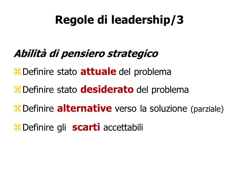 Regole di leadership/3 Abilità di pensiero strategico zDefinire stato attuale del problema zDefinire stato desiderato del problema zDefinire alternati