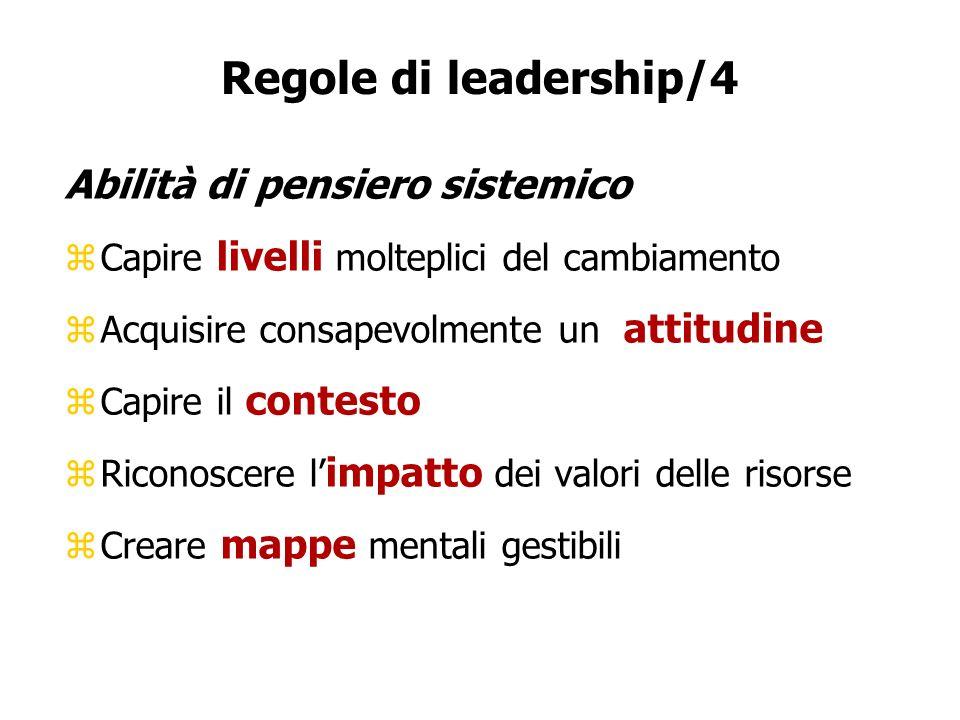 Regole di leadership/4 Abilità di pensiero sistemico zCapire livelli molteplici del cambiamento zAcquisire consapevolmente un attitudine zCapire il co