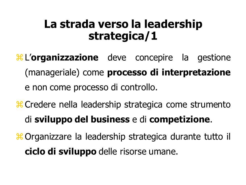 La strada verso la leadership strategica/1 zLorganizzazione deve concepire la gestione (manageriale) come processo di interpretazione e non come proce