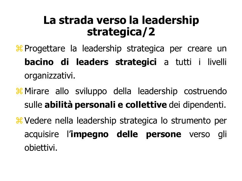 La strada verso la leadership strategica/2 zProgettare la leadership strategica per creare un bacino di leaders strategici a tutti i livelli organizza