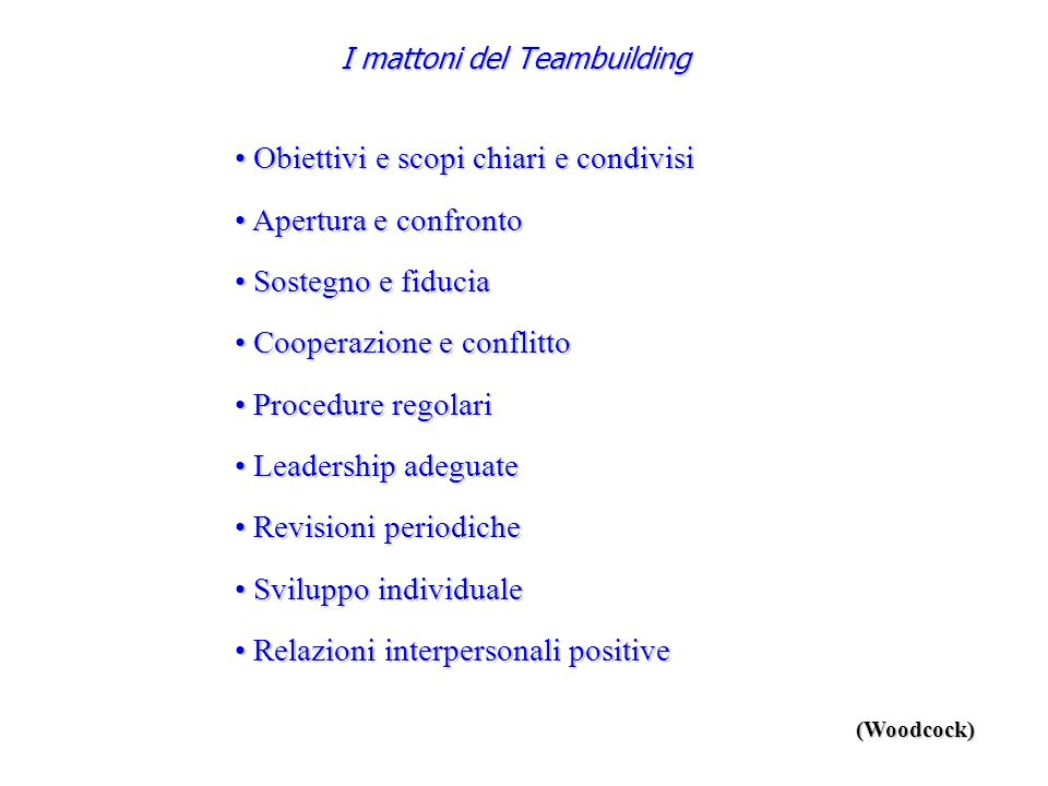 I mattoni del Teambuilding Obiettivi e scopi chiari e condivisi Obiettivi e scopi chiari e condivisi Apertura e confronto Apertura e confronto Sostegn