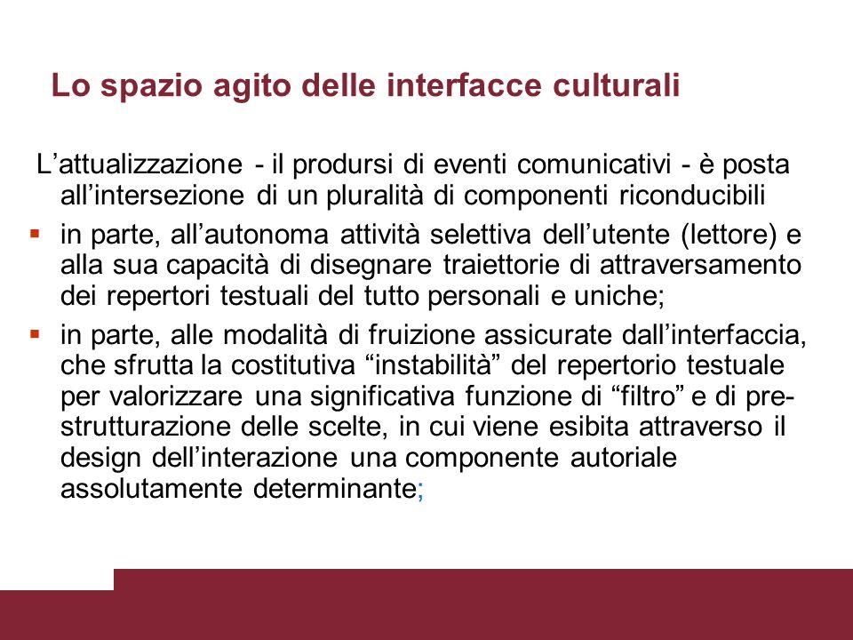 Lo spazio agito delle interfacce culturali Linterattività come caratteristica strutturale del medium sposta lasse dal polo della sostanza al polo dell