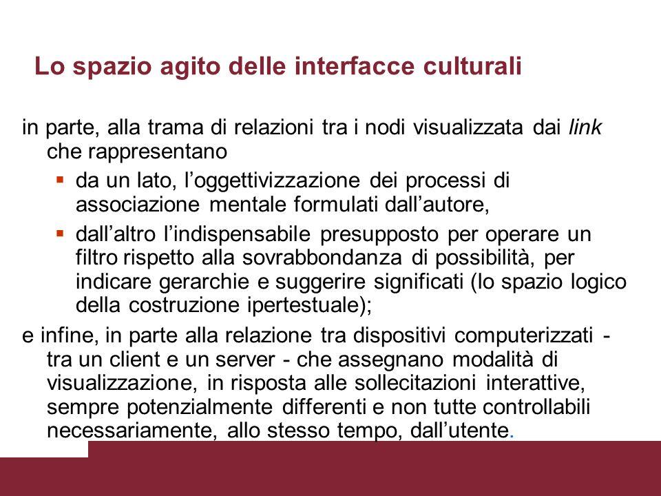 Lo spazio agito delle interfacce culturali Lattualizzazione - il prodursi di eventi comunicativi - è posta allintersezione di un pluralità di componen