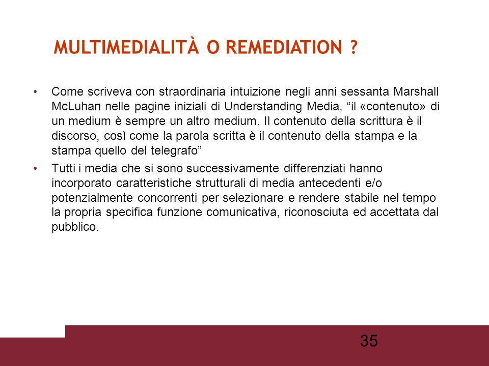 34 Multimedialità: è lintegrazione informatica di più mezzi (formati) e codici espressivi allinterno di uno stesso testo. Ipermedialità (ipertesto + m