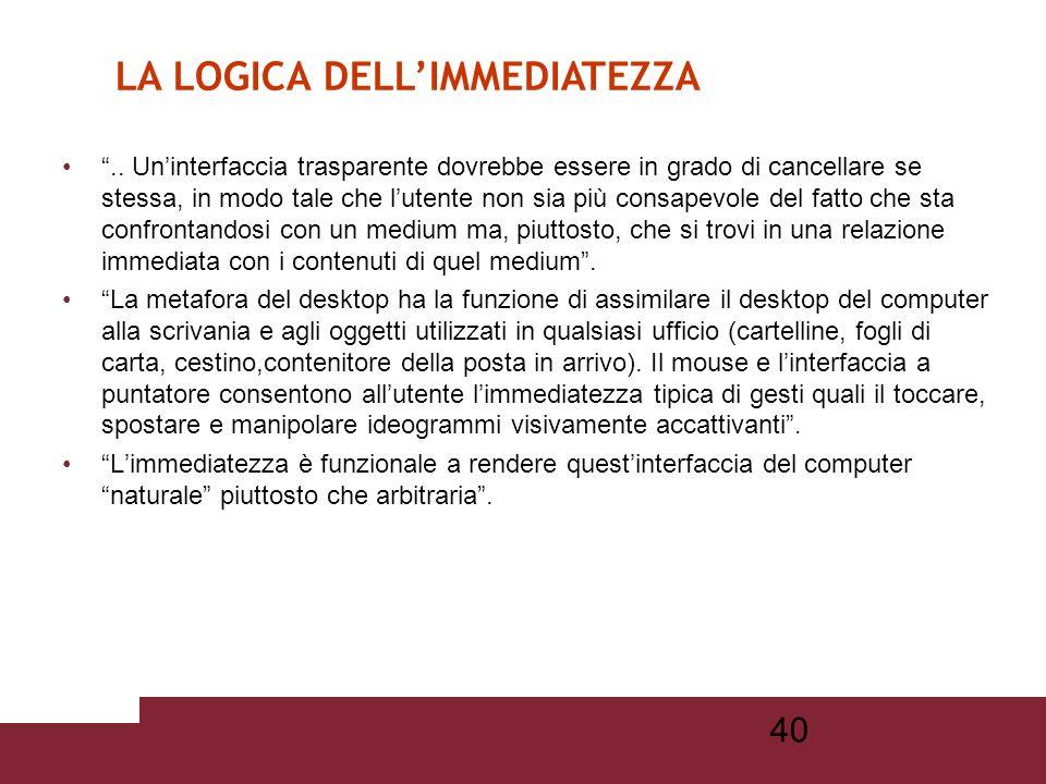 39 La logica dellimmediatezza può essere rintracciata in diverse forme mediali e espressive: dalla finestra di Leon Battista Alberti, alla tecnica del