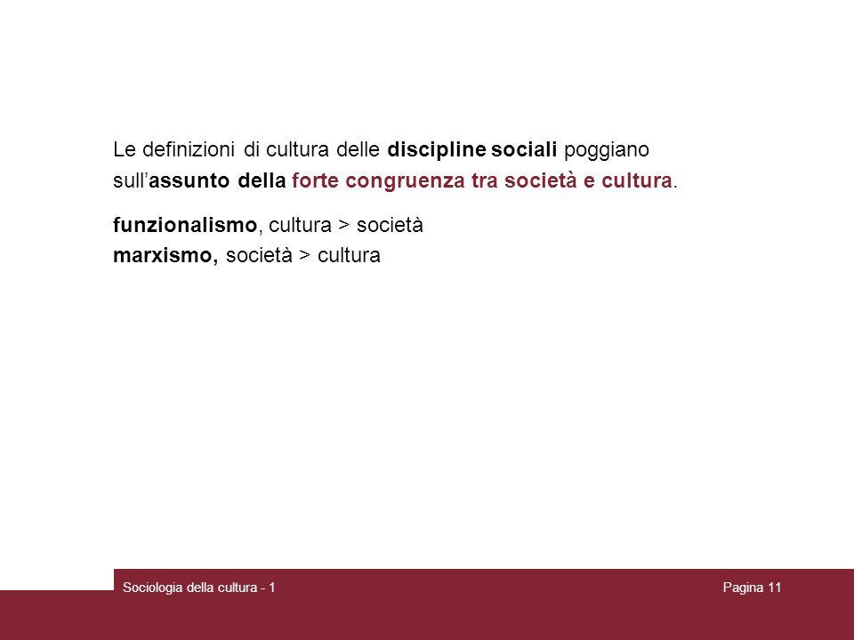 Sociologia della cultura - 1Pagina 11 Le definizioni di cultura delle discipline sociali poggiano sullassunto della forte congruenza tra società e cul