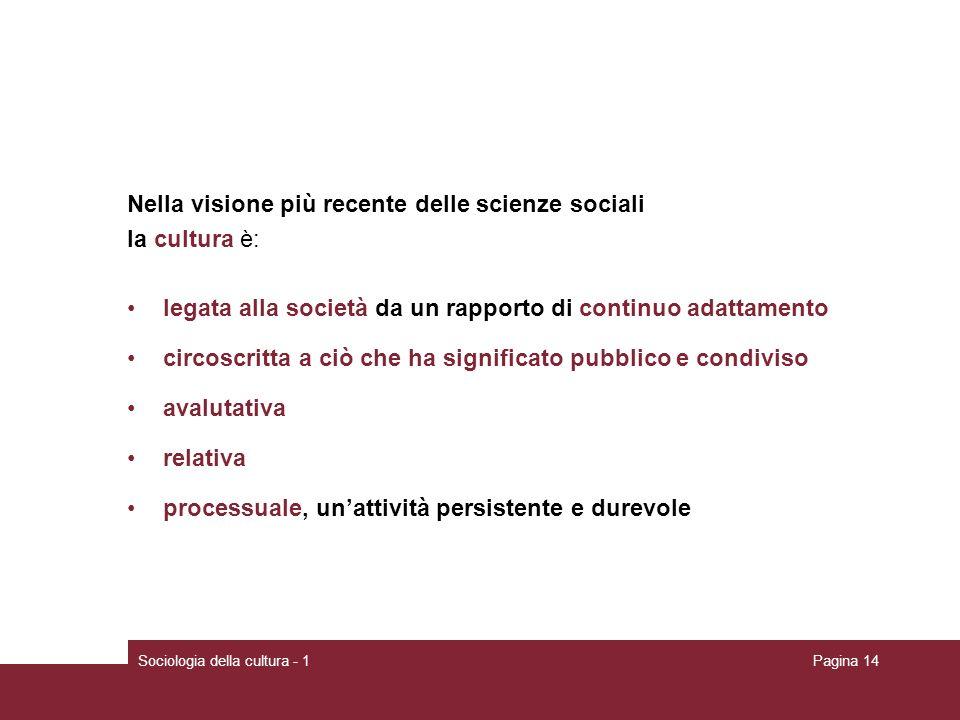 Sociologia della cultura - 1Pagina 14 Nella visione più recente delle scienze sociali la cultura è: legata alla società da un rapporto di continuo ada