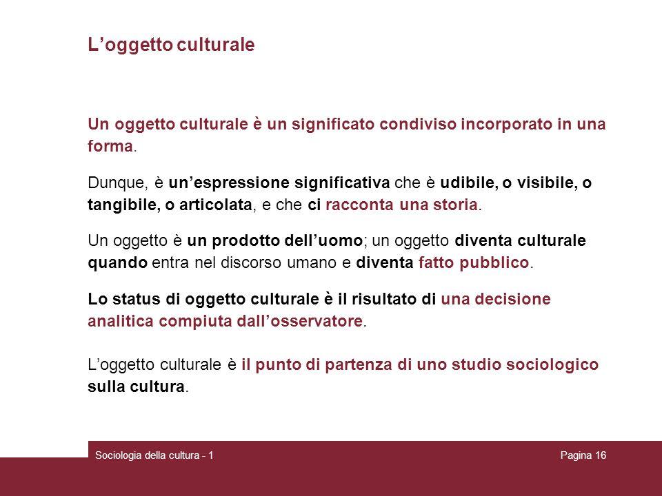 Sociologia della cultura - 1Pagina 16 Loggetto culturale Un oggetto culturale è un significato condiviso incorporato in una forma. Dunque, è unespress
