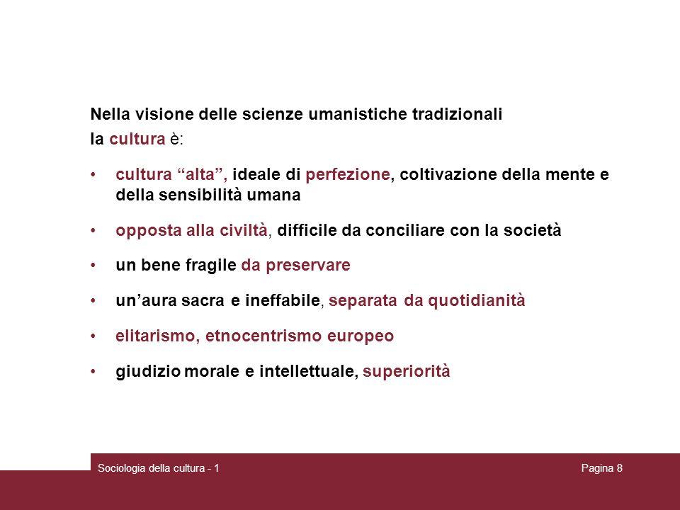Sociologia della cultura - 1Pagina 9 La visione delle scienze sociali Sempre nel corso del XIX secolo, nuove discipline come lantropologia e la sociologia cominciarono a pensare la cultura in modo diverso, considerando anche il rapporto di questa con la società, e approdarono a nuove definizioni del concetto.