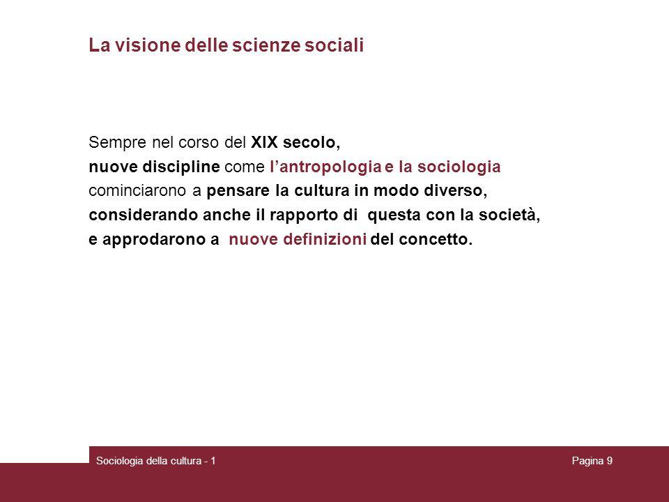 Sociologia della cultura - 1Pagina 9 La visione delle scienze sociali Sempre nel corso del XIX secolo, nuove discipline come lantropologia e la sociol