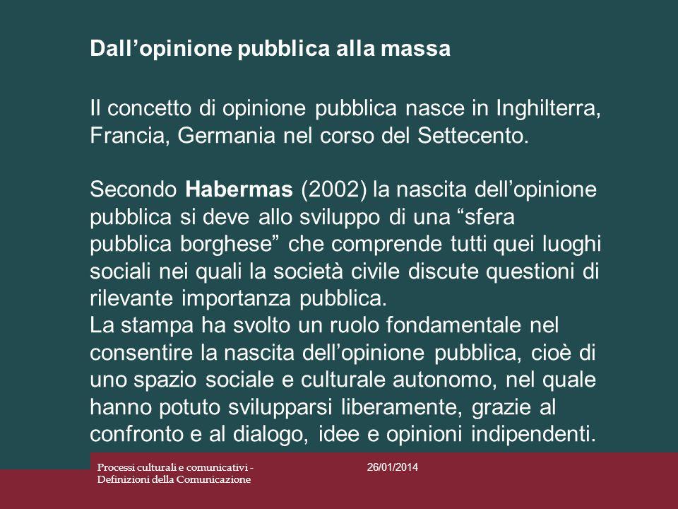 Dallopinione pubblica alla massa 26/01/2014 Processi culturali e comunicativi - Definizioni della Comunicazione Il concetto di opinione pubblica nasce