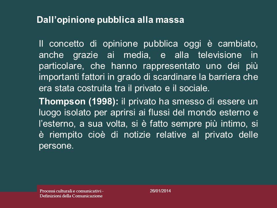 Dallopinione pubblica alla massa 26/01/2014 Processi culturali e comunicativi - Definizioni della Comunicazione Il concetto di opinione pubblica oggi