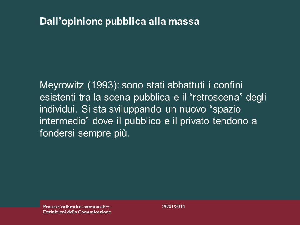 Dallopinione pubblica alla massa 26/01/2014 Processi culturali e comunicativi - Definizioni della Comunicazione Meyrowitz (1993): sono stati abbattuti