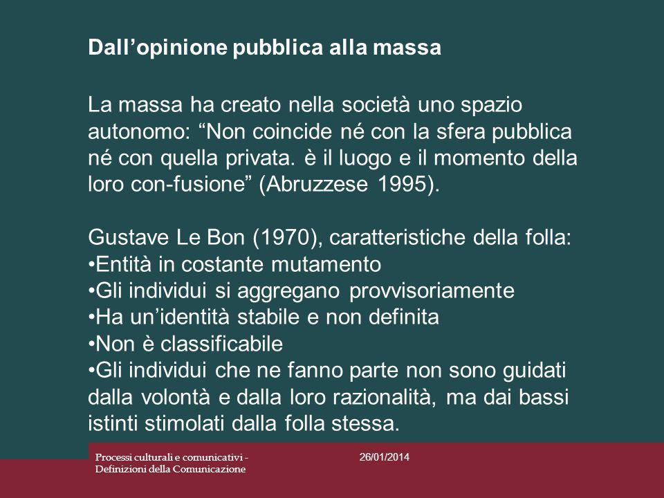 Dallopinione pubblica alla massa 26/01/2014 Processi culturali e comunicativi - Definizioni della Comunicazione La massa ha creato nella società uno s