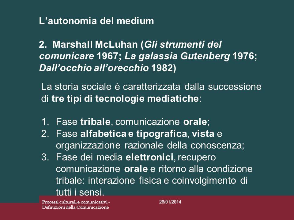 Lautonomia del medium 2. Marshall McLuhan (Gli strumenti del comunicare 1967; La galassia Gutenberg 1976; Dallocchio allorecchio 1982) 26/01/2014 Proc