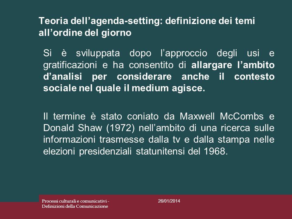 Teoria dellagenda-setting: definizione dei temi allordine del giorno 26/01/2014 Processi culturali e comunicativi - Definizioni della Comunicazione Si