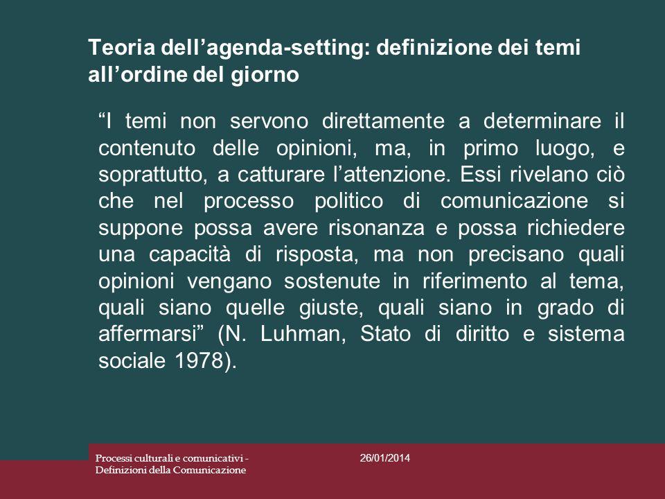 Teoria dellagenda-setting: definizione dei temi allordine del giorno 26/01/2014 Processi culturali e comunicativi - Definizioni della Comunicazione I