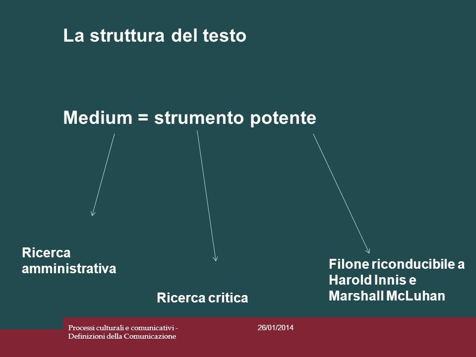 La struttura del testo 26/01/2014 Processi culturali e comunicativi - Definizioni della Comunicazione 1.La ricerca amministrativa: la funzione del medium è positiva e stimola i processi di modernizzazione.