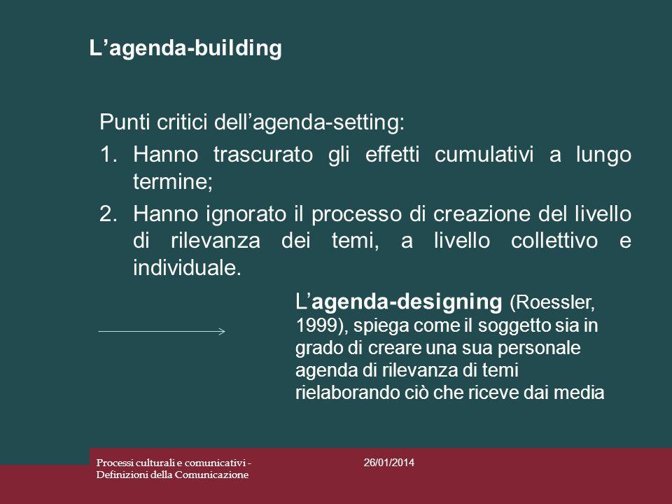 Lagenda-building 26/01/2014 Processi culturali e comunicativi - Definizioni della Comunicazione Punti critici dellagenda-setting: 1.Hanno trascurato g