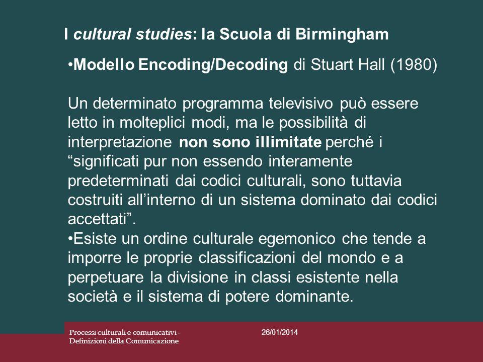 I cultural studies: la Scuola di Birmingham 26/01/2014 Processi culturali e comunicativi - Definizioni della Comunicazione Modello Encoding/Decoding d