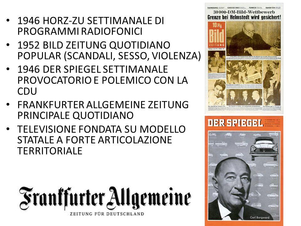 1946 HORZ-ZU SETTIMANALE DI PROGRAMMI RADIOFONICI 1952 BILD ZEITUNG QUOTIDIANO POPULAR (SCANDALI, SESSO, VIOLENZA) 1946 DER SPIEGEL SETTIMANALE PROVOC