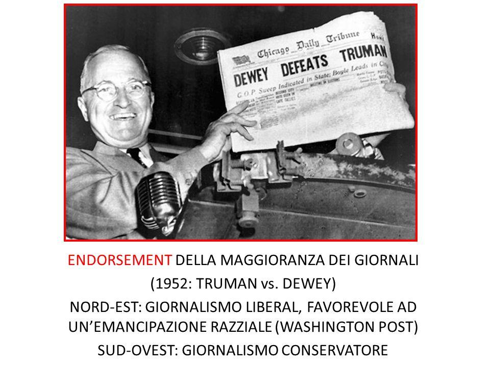 ENDORSEMENT DELLA MAGGIORANZA DEI GIORNALI (1952: TRUMAN vs. DEWEY) NORD-EST: GIORNALISMO LIBERAL, FAVOREVOLE AD UNEMANCIPAZIONE RAZZIALE (WASHINGTON