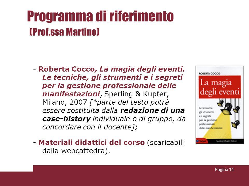 Programma di riferimento (Prof.ssa Martino) - Roberta Cocco, La magia degli eventi.