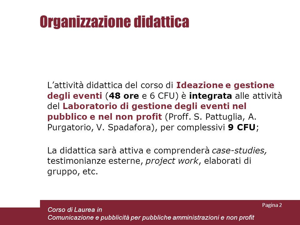 Organizzazione didattica Lattività didattica del corso di Ideazione e gestione degli eventi (48 ore e 6 CFU) è integrata alle attività del Laboratorio di gestione degli eventi nel pubblico e nel non profit (Proff.