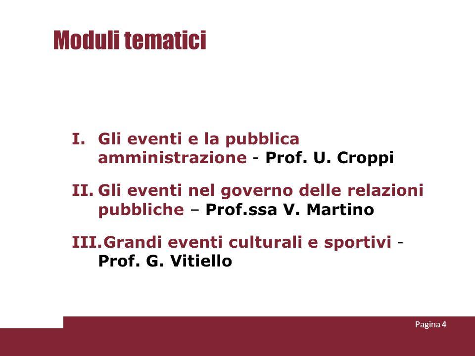 Moduli tematici I.Gli eventi e la pubblica amministrazione - Prof.