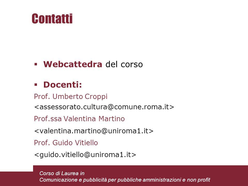 Contatti Webcattedra del corso Docenti: Prof. Umberto Croppi Prof.ssa Valentina Martino Prof.
