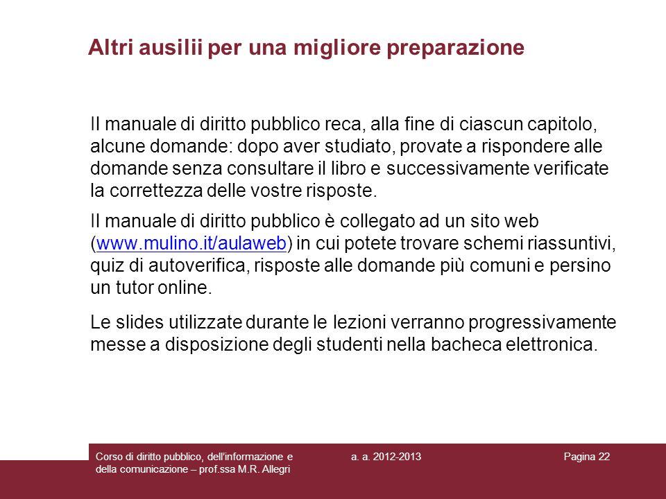 a. a. 2012-2013Corso di diritto pubblico, dellinformazione e della comunicazione – prof.ssa M.R. Allegri Pagina 22 Altri ausilii per una migliore prep
