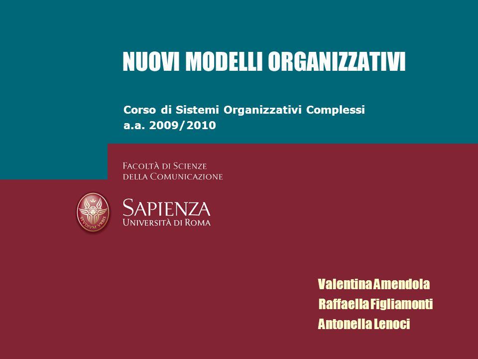 Corso di Sistemi Organizzativi Complessi a.a. 2009/2010 NUOVI MODELLI ORGANIZZATIVI Valentina Amendola Raffaella Figliamonti Antonella Lenoci