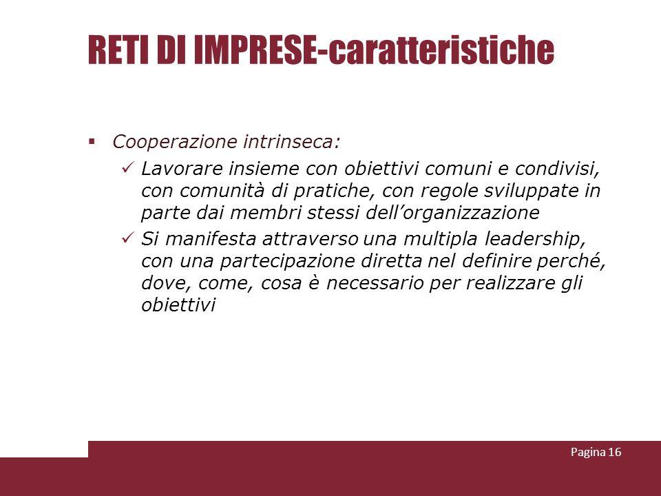 RETI DI IMPRESE-caratteristiche Cooperazione intrinseca: Lavorare insieme con obiettivi comuni e condivisi, con comunità di pratiche, con regole svilu