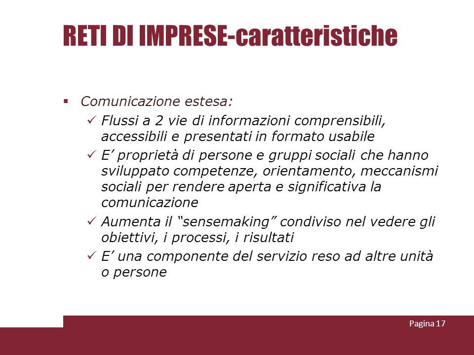 RETI DI IMPRESE-caratteristiche Comunicazione estesa: Flussi a 2 vie di informazioni comprensibili, accessibili e presentati in formato usabile E prop
