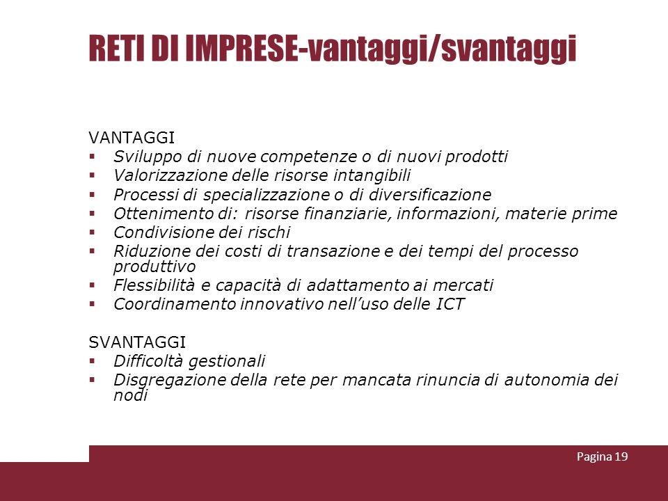 RETI DI IMPRESE-vantaggi/svantaggi VANTAGGI Sviluppo di nuove competenze o di nuovi prodotti Valorizzazione delle risorse intangibili Processi di spec
