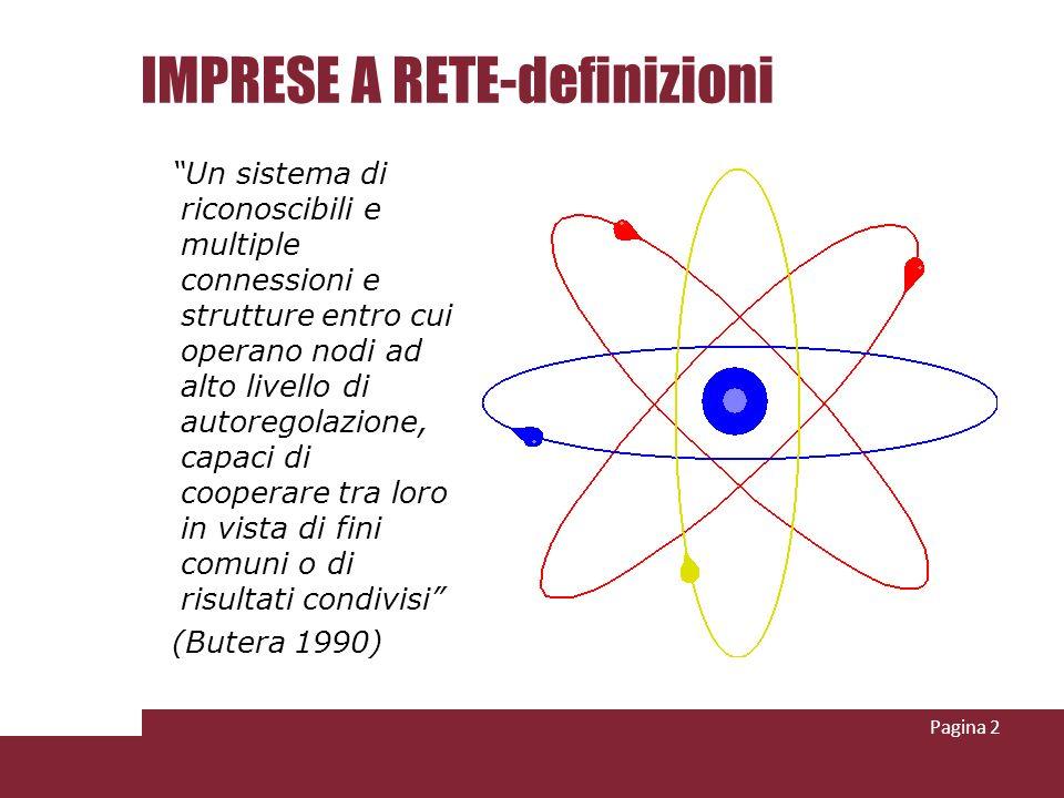 IMPRESE A RETE-definizioni Un sistema di riconoscibili e multiple connessioni e strutture entro cui operano nodi ad alto livello di autoregolazione, c