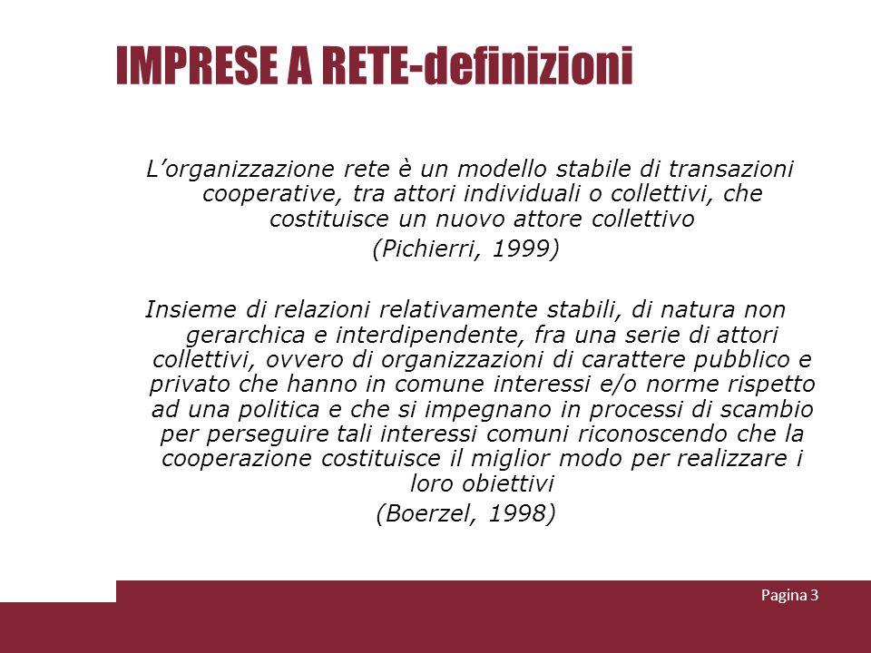IMPRESE A RETE-definizioni Lorganizzazione rete è un modello stabile di transazioni cooperative, tra attori individuali o collettivi, che costituisce