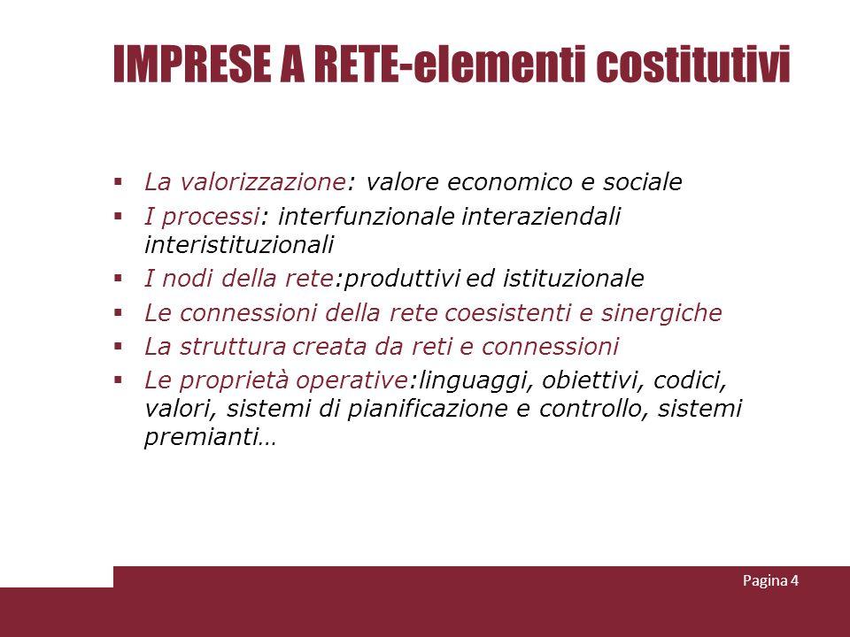 IMPRESE A RETE-elementi costitutivi La valorizzazione: valore economico e sociale I processi: interfunzionale interaziendali interistituzionali I nodi