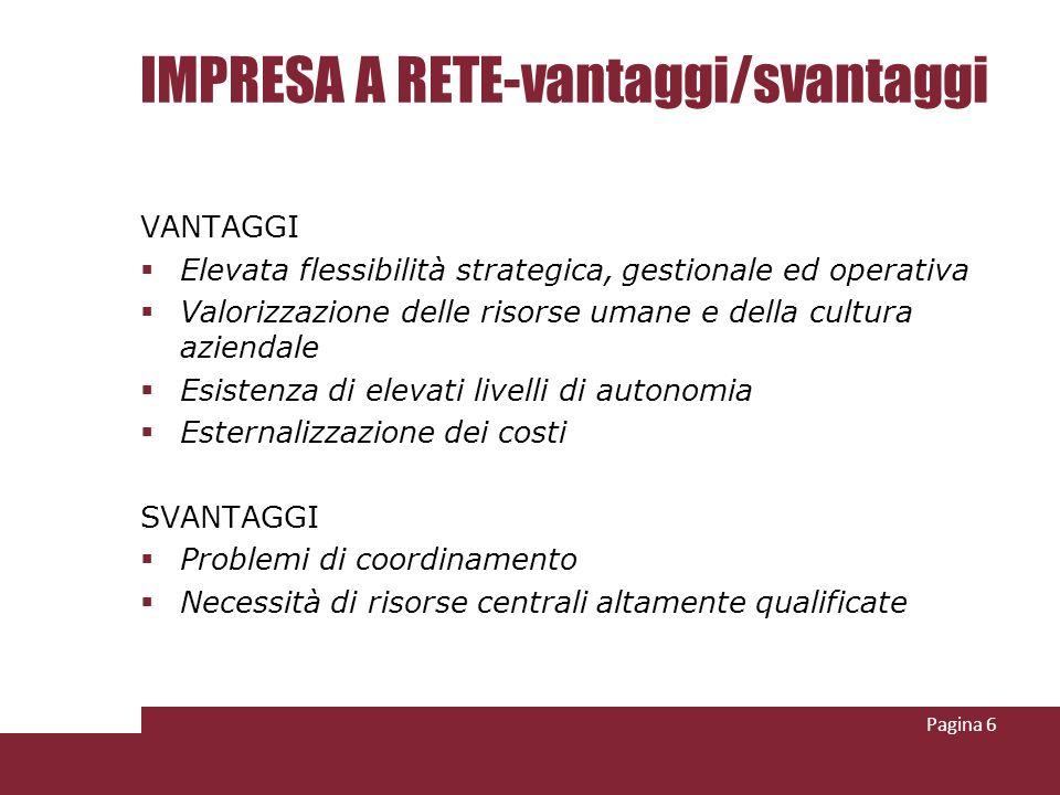 IMPRESA A RETE-vantaggi/svantaggi VANTAGGI Elevata flessibilità strategica, gestionale ed operativa Valorizzazione delle risorse umane e della cultura