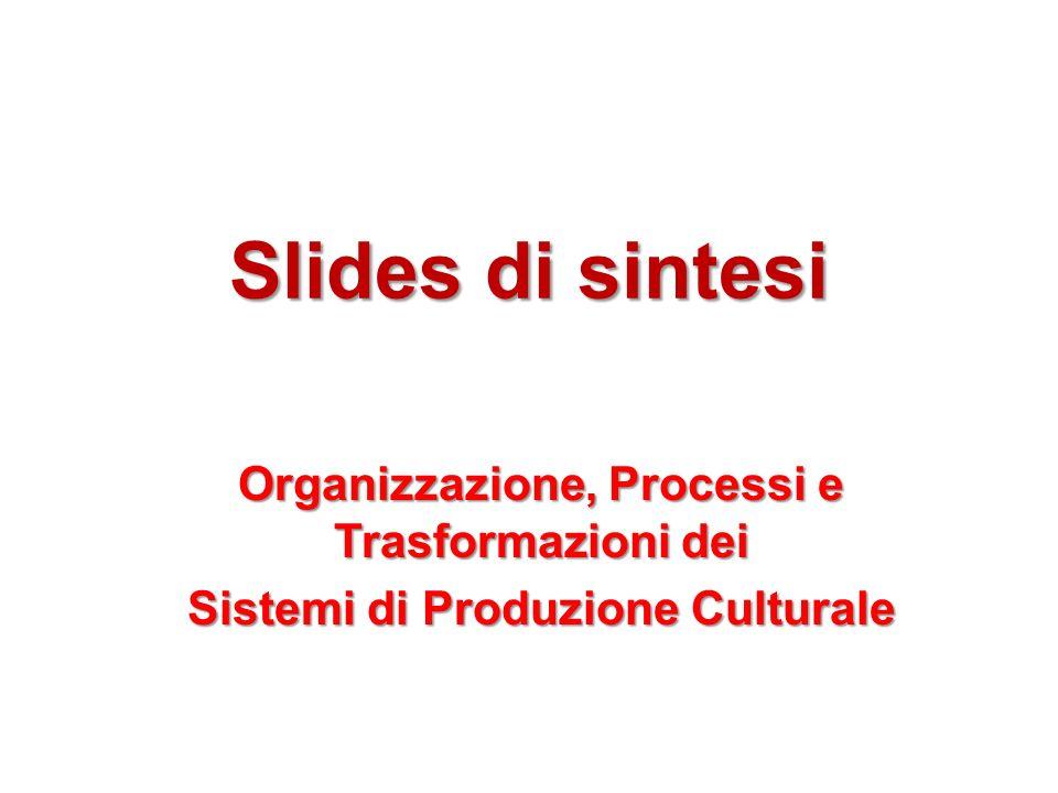 Slides di sintesi Organizzazione, Processi e Trasformazioni dei Sistemi di Produzione Culturale