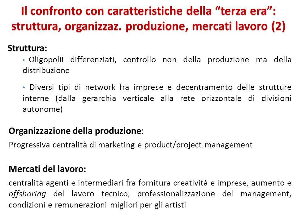 Il confronto con caratteristiche della terza era: struttura, organizzaz. produzione, mercati lavoro (2) Struttura: Oligopolii differenziati, controllo