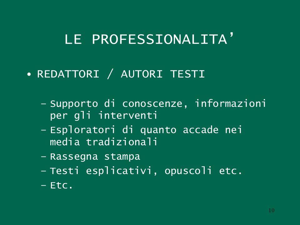 10 LE PROFESSIONALITA REDATTORI / AUTORI TESTI –Supporto di conoscenze, informazioni per gli interventi –Esploratori di quanto accade nei media tradiz